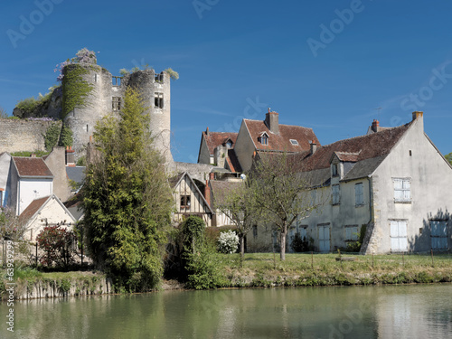 Montresor village and castle seen from the Indrois river, France