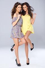 Two vivacious beautiful young women