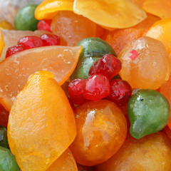Candied fruit as background