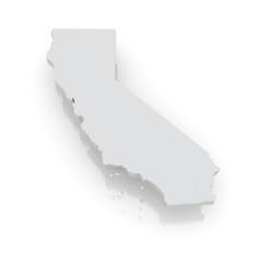 Three-dimensional map of California. USA.