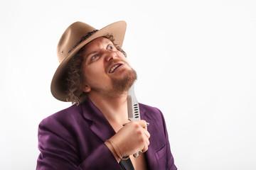Shaving man with hat