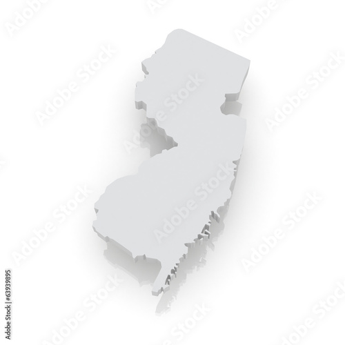 Three-dimensional map of New Jersey. USA.