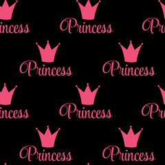 Princess Crown Seamless Pattern Background Vector Illustration.