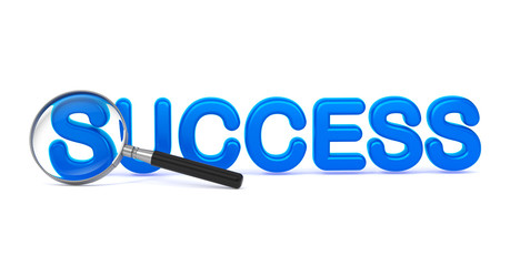 Success - Blue 3D Word Through a Magnifying Glass.