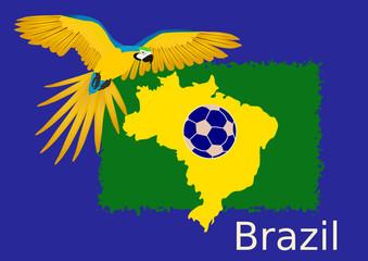 Flagge Brasilien und Papagei