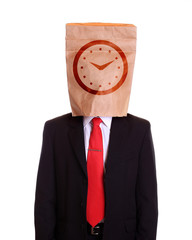 Man with a paper bag on head clock dial on it
