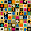 abstract geometric composition, retro/vintage style,