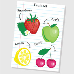 Fruit set - lined paper.