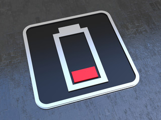 Empty battery symbol on black icon
