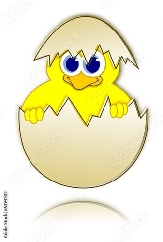 Happy easter chick in eggshell - reflection