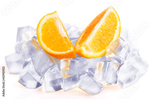 Ice cubes and orange slices isolated on white background