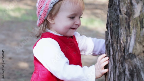 Girl near tree