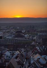 sunset over freiburg, Germany