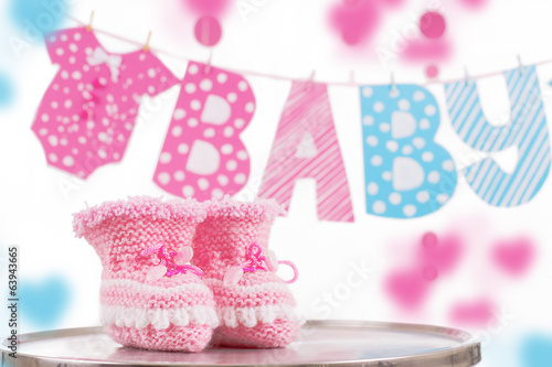 Cute baby element with word baby and pink bootees