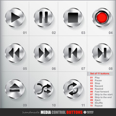 Set of 11 Circle Media Stop Button.