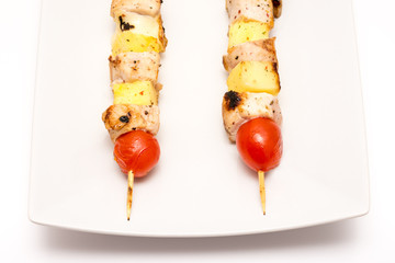 Exotic Chicken Skewers On Plate
