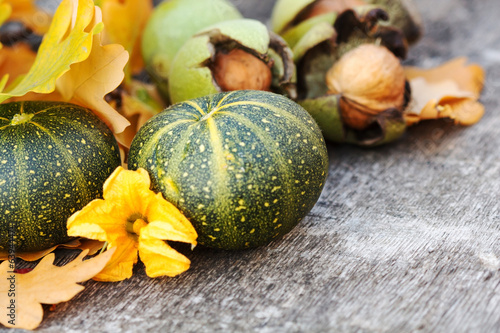 Autumn Pumpkin and Leaves
