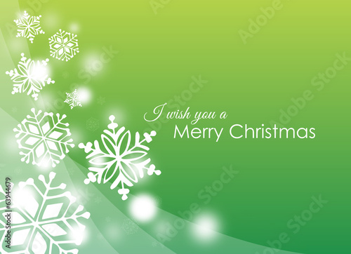 christmas card with white snowflakes on green background
