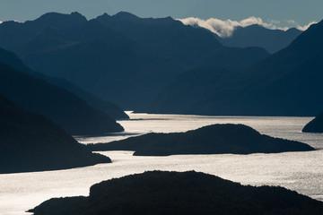 lake Manapouri at sunset