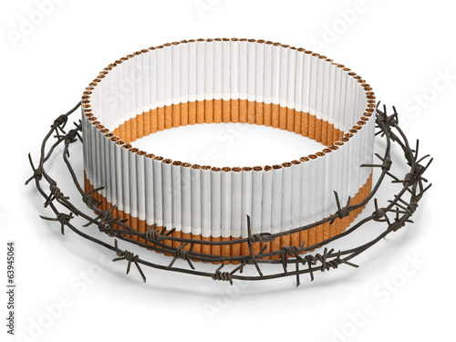 Oval cigarette protection behind a barbed wire