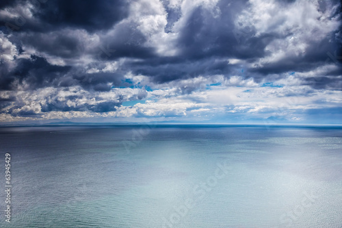 Overcast weather over sea