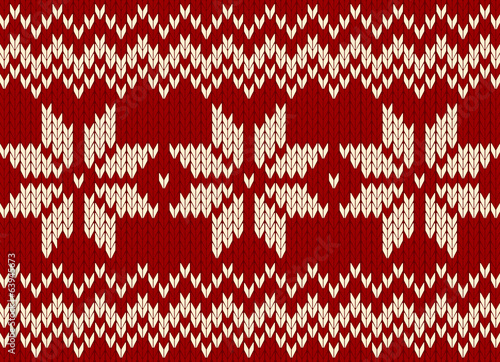christmas ornament, scandinavian style seamless knitted pattern
