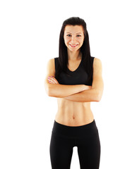 Young athletic woman isolated in white background