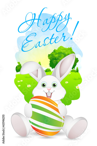 Easter Card with Landscape, Rabbit and Decorated Egg