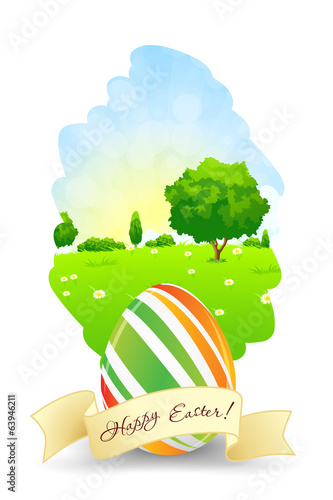 Easter Card with Landscape and Decorated Egg