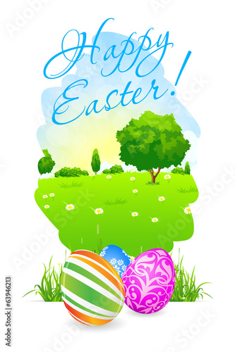 Easter Card with Landscape and Decorated Eggs
