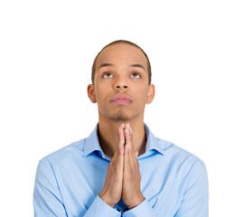 Praying man asking for forgiveness