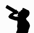 Teen Boy Silhouette Drinking Alcohol from Bottle - 63946681