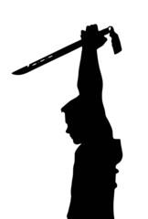 Teen Boy Silhouette Ninja Kid Holding Samurai Sword