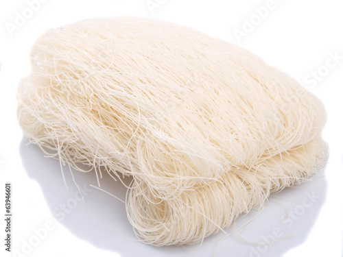 Rice vermicelli over white background