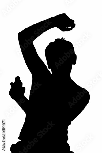 Teen Boy Silhouette Spraying Underarm Deodorant