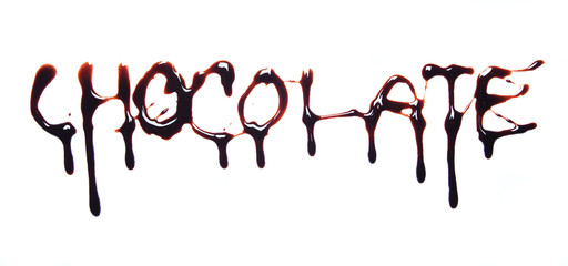 Word chocolate written on white background