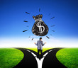 businessman choosing different way for dollar money finance