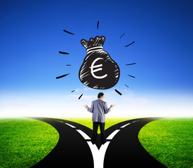 businessman choosing different way for euro money finance