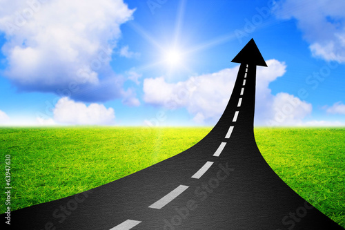 Road to success  highway road going up as an arrow