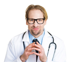 Evil doctor plotting a new experiment, patient overcharge