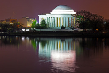 Thomas Jefferson Memorial at predawn in spring.