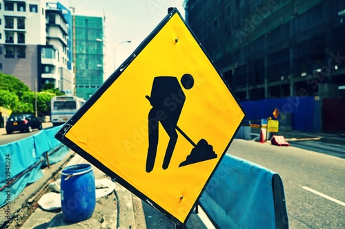 Road sign in a street under reconstruction