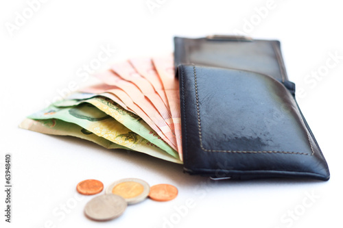 wallet money isolated on white background
