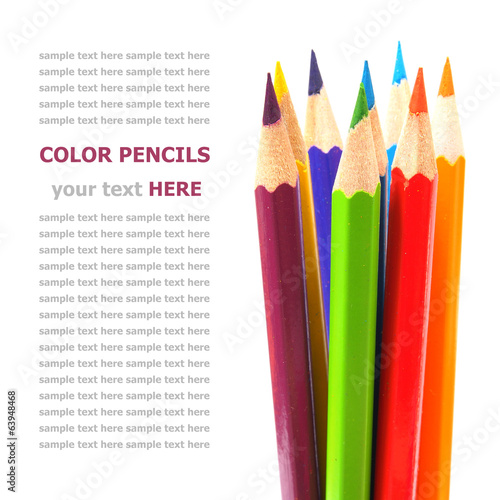 Color pencils isolated on white background