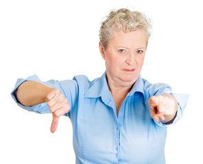 You suck. Senior elderly woman showing thumbs down