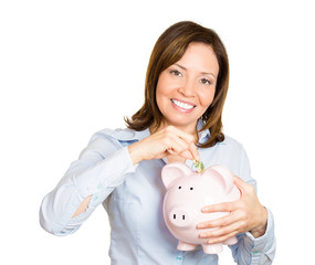 Portrait Happy woman holding Piggy bank, her savings