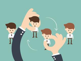 Business hand  hold  businessman Job rotation