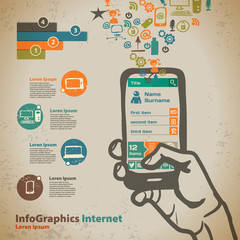 Template for infographic with hand with smartphone in vintage st