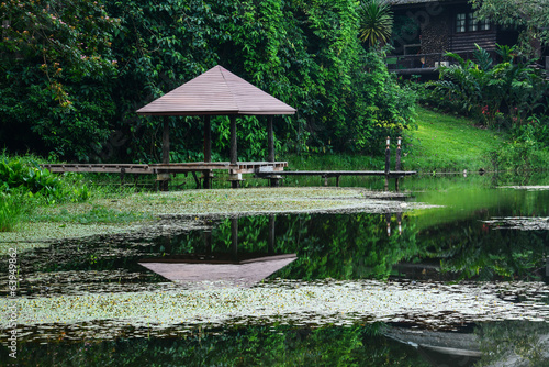 wood pavilion with lake in  Krating Waterfall National Park at