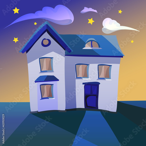 Illustration of a cartoon house at night